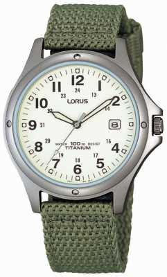 Lorus Relógio analógico de pulseira de lona verde para homens RXD425L8