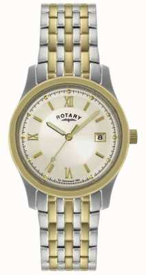 Rotary Relógio de pulseira de aço de dois tons para homens GBI0793/09