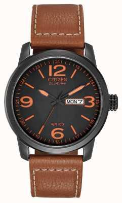 Citizen Eco-drive para homens   couro marrom militar chandler BM8475-26E
