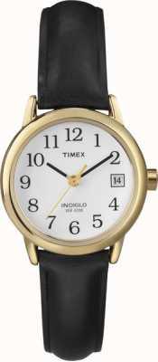 Timex Relógio feminino branco de couro preto T2H341