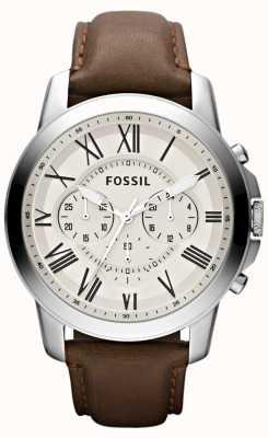 Fossil Correia de couro cronógrafo para homens FS4735