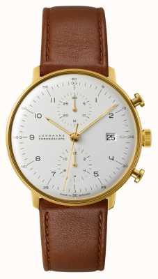 Junghans Bracelete de couro marrom do cronógrafo Max Bill 027/7800.04
