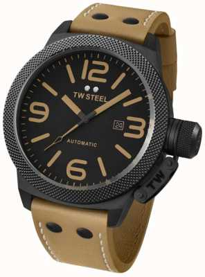 TW Steel Gent's canteen automatic 50mm brown leather strap watch TWA203