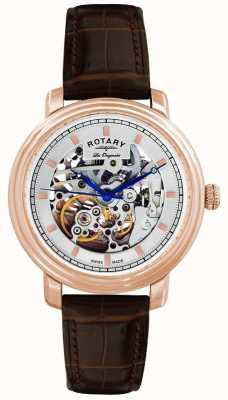 Rotary Gent's les originales relógio de cinta de couro marrom GS90505/06