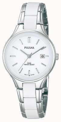 Pulsar Relógio branco de cerâmica branca e aço inoxidável para mulheres PH7267X1