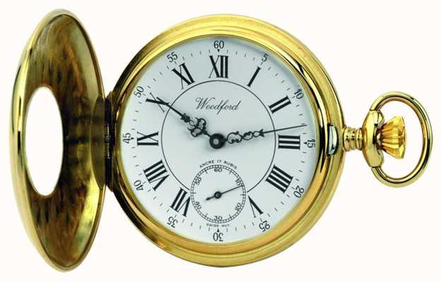 Woodford | meio caçador | banhado a ouro | relógio de bolso | 1010