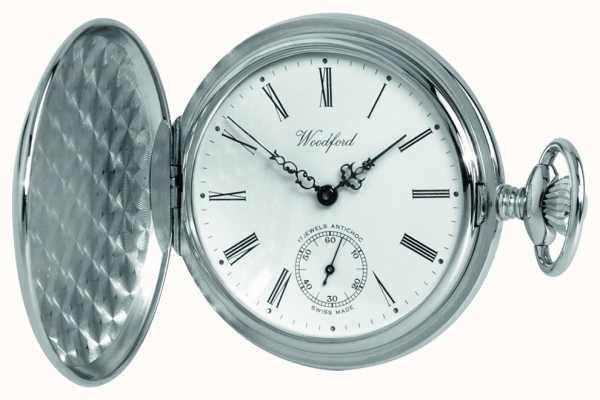 Woodford Relógio de bolso mecânico de caçador branco cromado branco cromado 1061