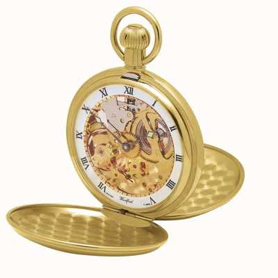 Woodford | esqueleto caçador | tampa dupla | placa de ouro | relógio de bolso | 1014