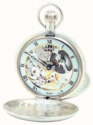 Woodford | esqueleto caçador | tampa dupla | prata | relógio de bolso | 1002