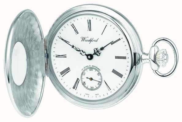 Woodford Relógio de bolso mecânico de marcação branca em prata esterlina 1068