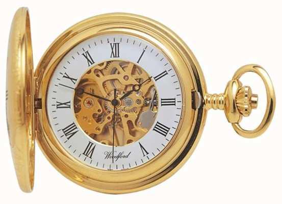 Woodford | meio caçador | banhado a ouro | esqueleto | relógio de bolso | 1021