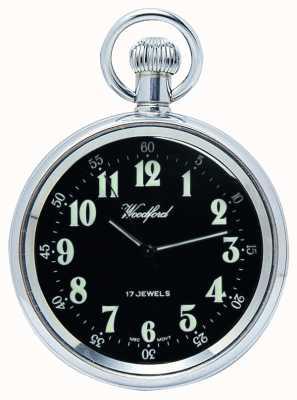 Woodford Relógio de bolso mecânico de frente aberto mostrador preto de aço inoxidável 1040