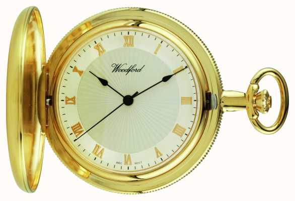 Woodford Gold-plate full hunter relógio de bolso branco 1053
