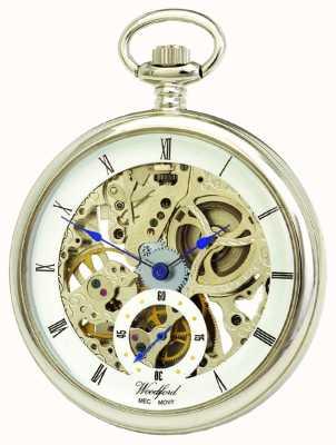 Woodford Relógio mecânico de bolso cromado com esqueleto branco 1043