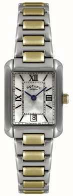 Rotary Womens 'two-tone gold-plate & aço inoxidável relógio com mostrador pérola LB02651/41