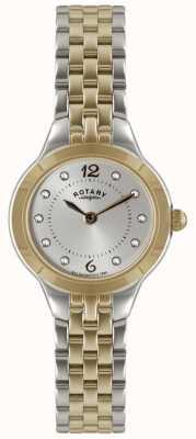 Rotary Relógio de tom de duas senhoras com conjunto de pedra LB02762/59