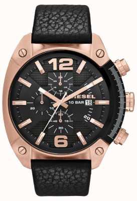Diesel Mens overflow rosa-ouro mostrador preto pulseira de couro preto relógio DZ4297