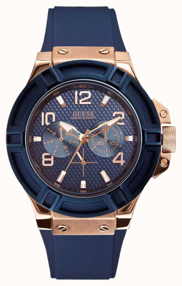 1ecf98f347b Guess Mens Rigor Blue And Rose-gold Watch W0247G3 - First Class ...