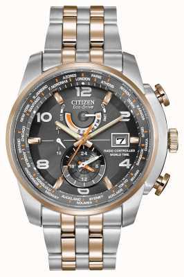 Citizen Hora mundial dos homens no cronógrafo de dois tons com mostrador cinza AT9016-56H