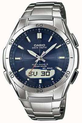 Casio Mens wave ceptor blue dial relógio de aço inoxidável WVA-M640D-2AER