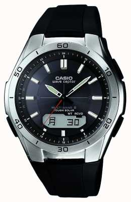Casio Mens wave ceptor black rubber strap stainless steel watch WVA-M640-1AER