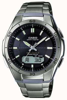 Casio Mens wave ceptor black dial relógio de titânio WVA-M640TD-1AER