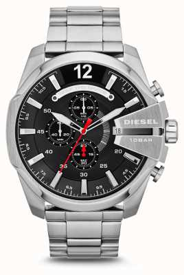 Diesel Mens mega chief relógio preto em aço inoxidável DZ4308