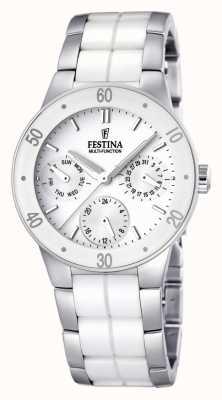Festina Relógio multi-discagem de cerâmica branca e aço inoxidável para mulheres F16530/1
