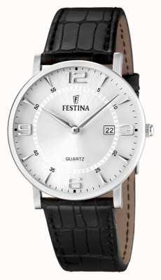 Festina Relógio de couro em aço inoxidável de couro preto F16476/3