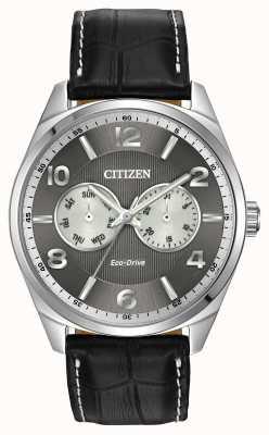 Citizen Relógio de relógio cinza de aço inoxidável para homens AO9020-17H