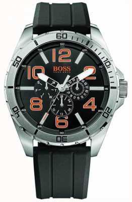 Hugo Boss Orange Bracelete de borracha preta de aço inoxidável para homens 1512945