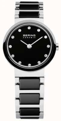 Bering Time damas pretas e cerâmicas prateadas 10725-742