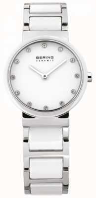 Bering Cerâmica branca de mulher, aço, relógio de cristal 10729-754