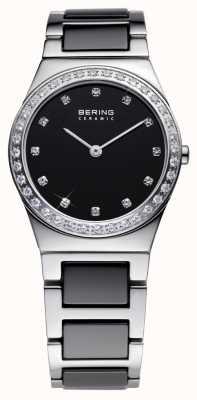 Bering Relógio de cerâmica, aço e cristal preto feminino 32430-742