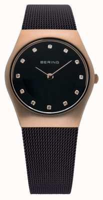 Bering Senhoras senhoras milanês relógio de malha marrom 11927-262