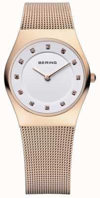 Bering Clássico feminino, ouro rosa, relógio de cristal 11927-366