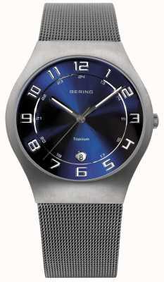 Bering Mens titanium blue dial engranzamento relógio 11937-078