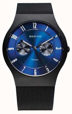 Bering Mens titânio relógio de discagem azul preto 11939-078