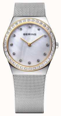 Bering Relógio ultra fino incrustado de pedra 12430-010