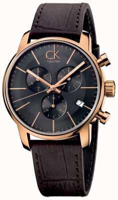 Calvin Klein Mens rose gold black dial cronógrafo de couro marrom K2G276G3