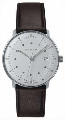 Junghans Mens max bill quartz branco discagem couro marrom relógio 041/4461.00