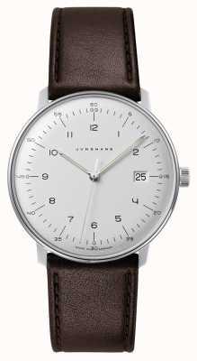 Junghans Mens max bill quartz branco discagem couro marrom relógio 041/4461.04