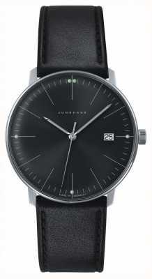 Junghans Mens max bill quartz plain black dial relógio de couro preto 041/4465.04