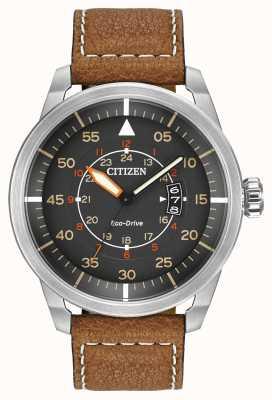 Citizen | mens eco-drive avion wr100 | pulseira de couro marrom | AW1361-10H