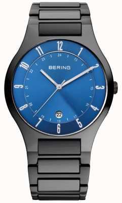Bering Mens preto titânio, relógio de discagem azul 11739-727