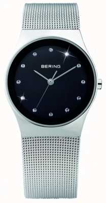 Bering Cristal das mulheres | mostrador preto | cinta de malha de aço inoxidável | 12927-002