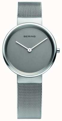 Bering Clássico feminino, malha, mostrador cinza, relógio de aço 14531-077