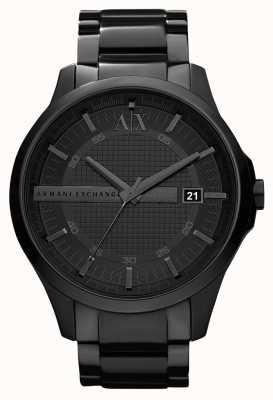 Armani Exchange Aço inoxidável preto e branco AX2104