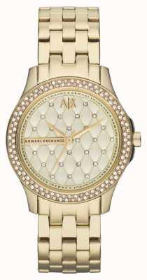 Armani Exchange Conjunto de cristal de pulseira de ouro elegante para mulheres AX5216