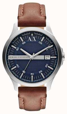 Armani Exchange Relógio de couro de couro para homens AX2133